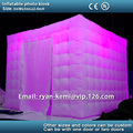 Free shipping custom 3m inflatable photo kiosk with color changing LED light with remote control