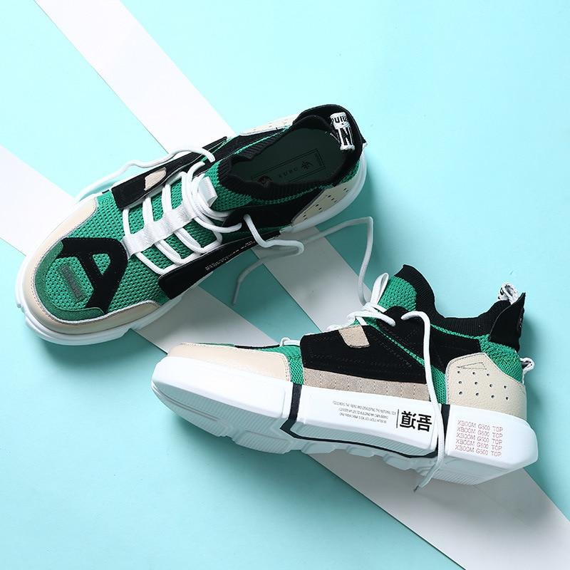 Décontracté Espadrilles Véritable 2019 Creepers Dames Feminino Plate Cuir Rétro Chaussures blanc Hommes forme En Bleu vert gris Tenis Appartements Noir Sneakers y7g6fb