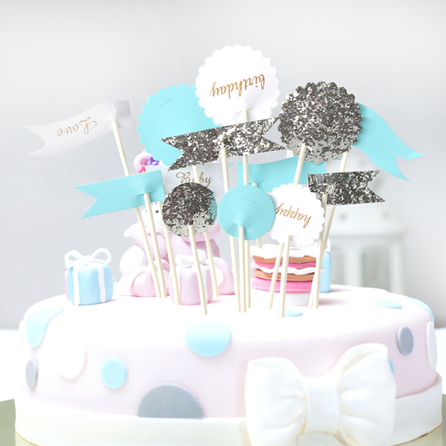 13 Pcs Set Shiny Baby Shower Cake Flags Signs Gold Silver For Kids Birthday Party First Decor Supplies Blue Pink