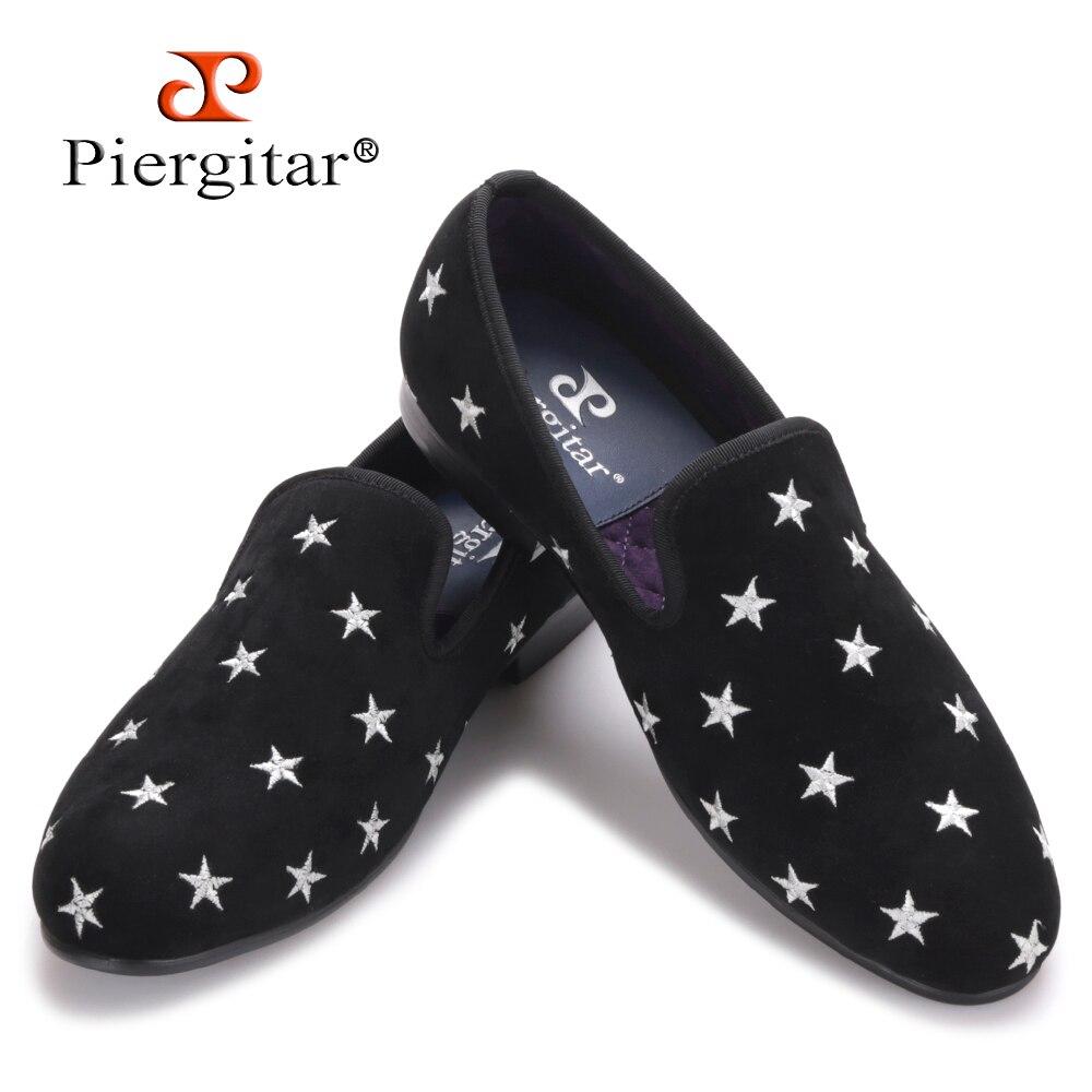 Piergitar/Новый британский стиль ручной работы мужские бархатные туфли с вышивкой звезды вечерние и свадебные мужские лоферы мужские тапочки д... ...