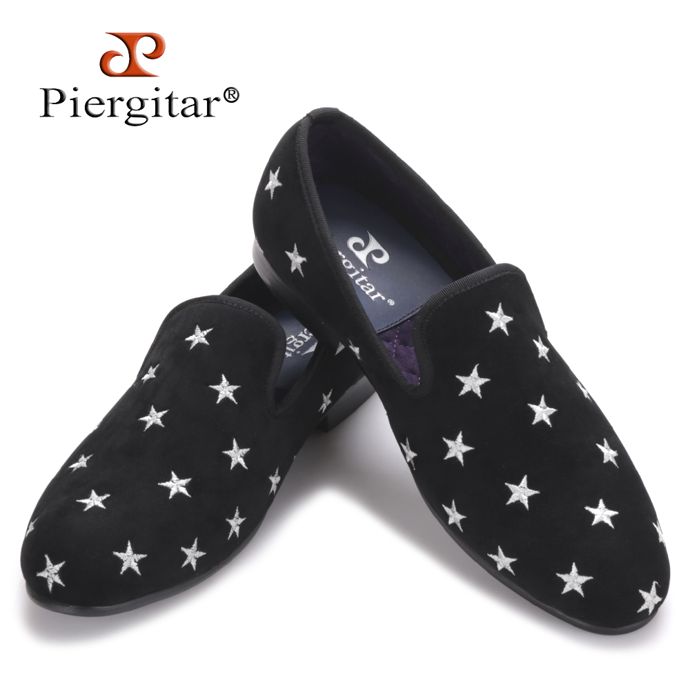 Piergitar new British style Handmade men velvet shoes with star embroidery Party and Wedding men loafers male smoking slippers handcraft men velvet shoes with bird embroidery british style smoking slippers fashion party and wedding men dress loafers