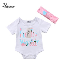 2Pcs Cute Newborn Toddler Baby Girls Hello World Jumpsuit Bodysuits +Headband Clothes Outfit Sets 0-18M(China)
