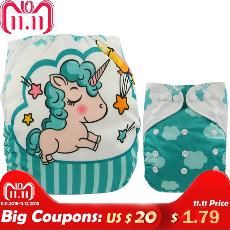 Ohbabyka Baby Diapers Reusable Nappies Changing Christmas Unicorn Print Newborn Cloth Diaper Washable Pocket Diaper Cover цена