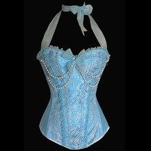 Сексуальный корсет розовый синий бурлесковый корсет корсеты и бюстье Лиф сексуальное белье бисерное бюстье с завязкой через шею бюстье