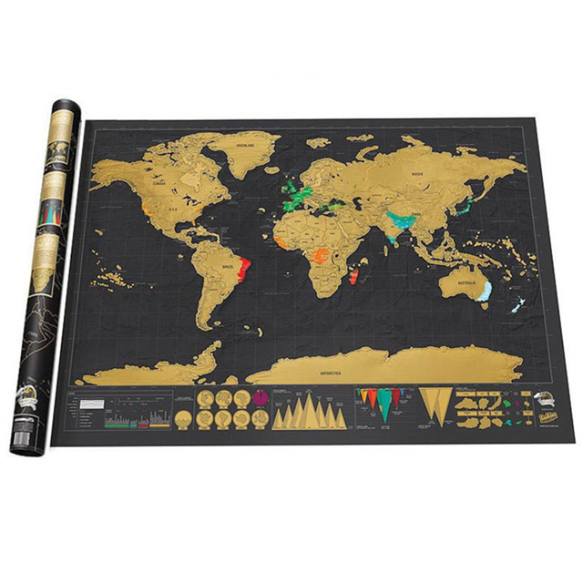 Creative Gift Scratch Map Wall Sticker Deluxe Edition Black World Map Personalized Travel Scratch For Map Room Home Decoration