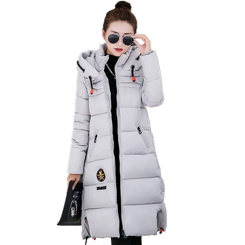 Hots Sale 2017 Fashion Long Winter Coat Women Hooded Down Jacket Female Parka Plus size Wadded Outwear Army Green Black Red Gray