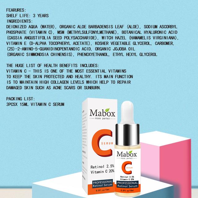 Mabox Face Retinol Serum+Six Peptides Serum Facial 24K Gold+Hyaluronic Acid Serum Moisturizing Skin Care Whitening AntiAnging