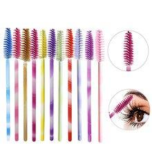 50pcs Multicolor Disposable Makeup Mascara Wands Eyelash Brush  Eyebrow comb Eye Lash Brush Tool Applicators Kit цена