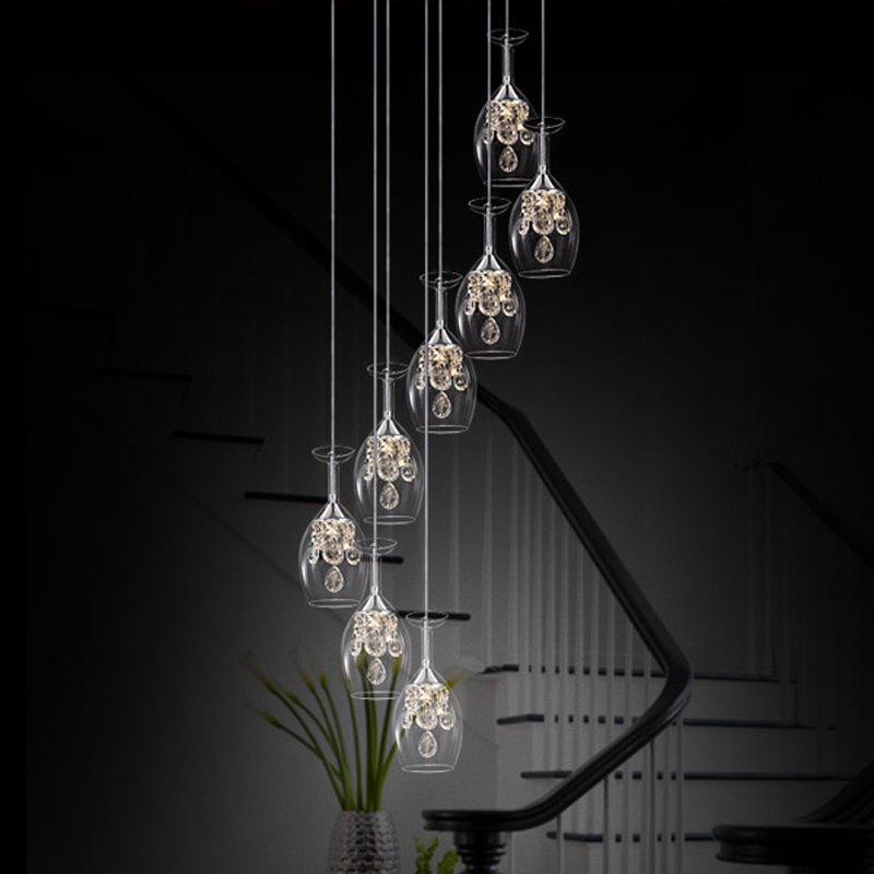 Stairs Transparent and clear pendant lights Wine Glass restaurant LED crystal pendant lamp creative personality ZA SJ122 lo1024 creative glass pendant lights personality transparent bar restaurant study pendant lamps 1pc red gray orange glass lighting za