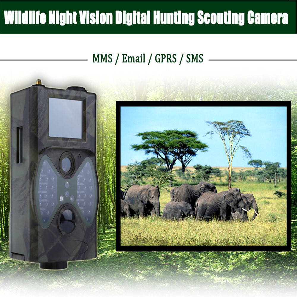 HC300M 12M Hunting Camera Digital Scouting Wildlife Trail Camera Support Remote Control 2G MMS GPRS GSM 940NM Infrared Night hc300m scouting hunting camera gprs mms digital 940nm black infrared trail camera solar panel battery