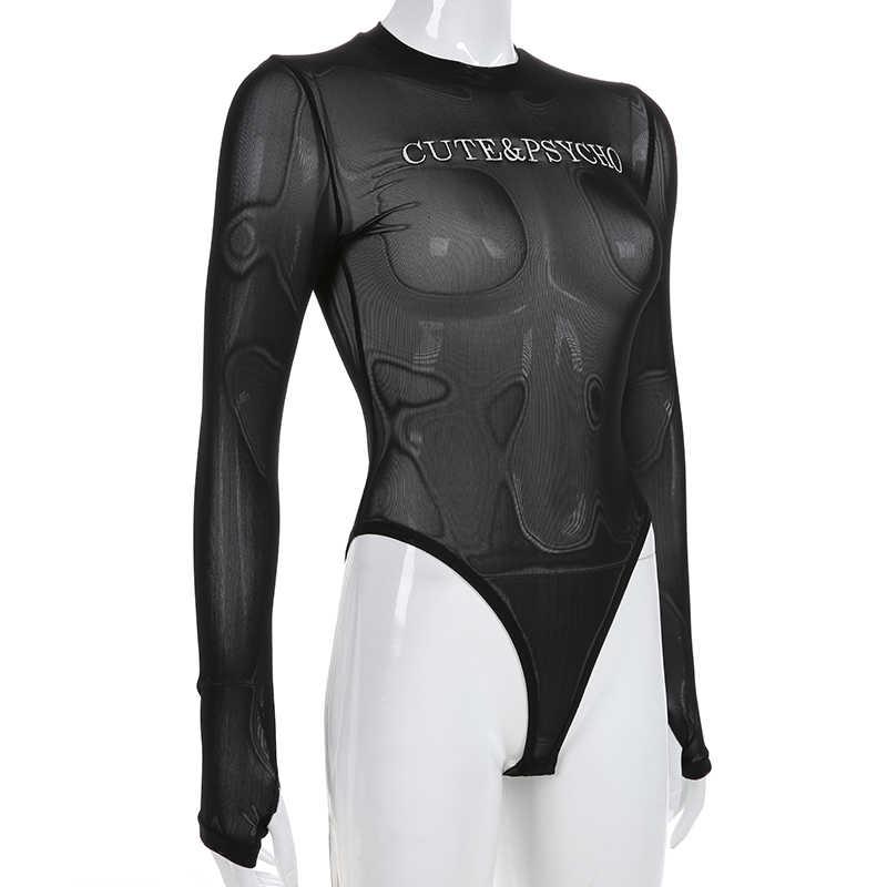 Sweetown черное сексуальное прозрачное Сетчатое боди для женщин 2019 летние буквы вышивка с длинным рукавом Прозрачные готические облегающие костюмы