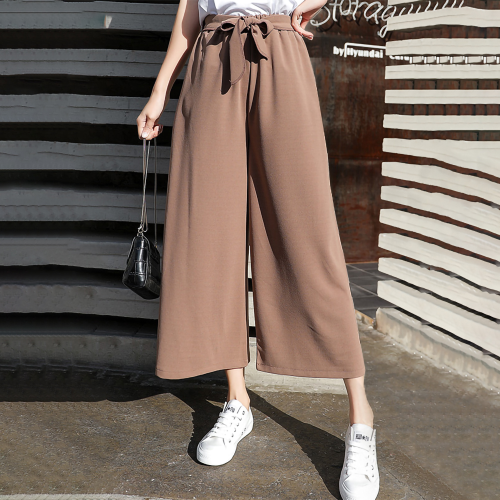 Wide     leg     Pants   Women Solid color Loose Casual High waist Chiffon Capris Palazzo   Pants   Sashes Cropped Trousers