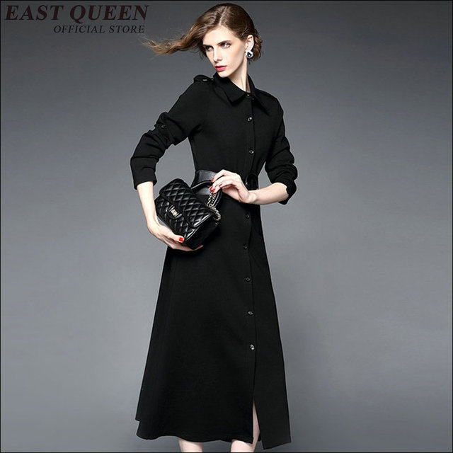 f471cba22856d US $66.0 45% OFF|2018 new arrival women business casual clothing black  dress women button front long sleeve maxi dress with belt KK1201-in Dresses  ...