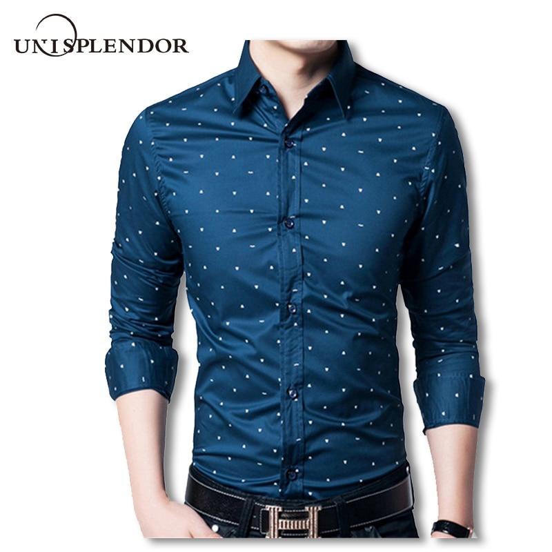 4XL Men Polka Dot Dress Shirt Fashion Floral Brand Clothing Casual Mens Cotton Formal Shirts Long Sleeve Slim Fit Man Shirt U87