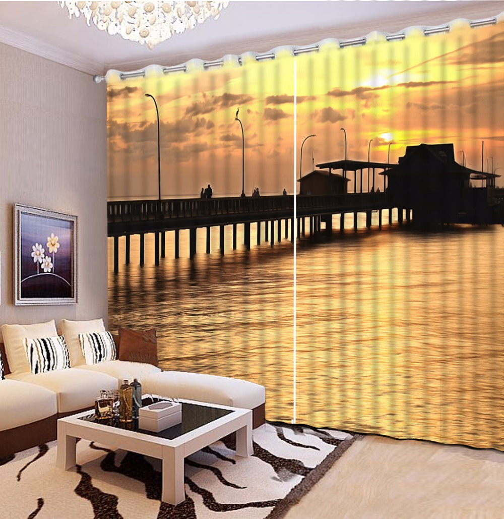 3D Curtain Sunset And Sea Scenery Bridge Bed Room Living Room Office Hotel Cortinas Blackout Shade Window Curtains Curtain