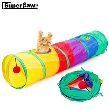 Funny Pet Tunnel Cat Play Rainbow Foldable 2 Holes Cats Tunnels Kitten Toy Bulk Toys Rabbit Cave MDT03