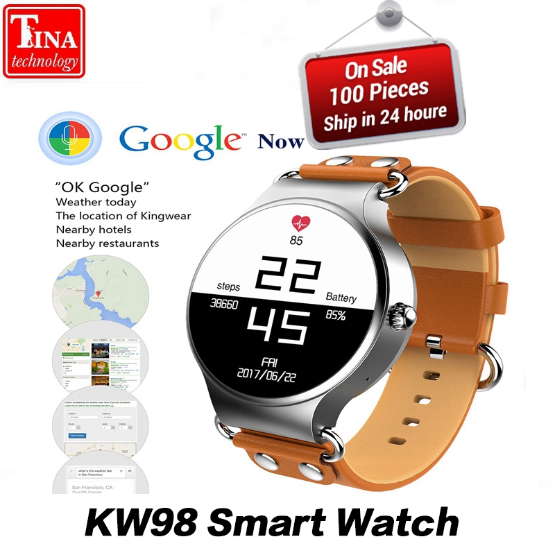 2017 New KW98 Smart Watch Android 5.1 3G WIFI GPS Watch MTK6580 Smartwatch for iOS Android Phone PK KW88
