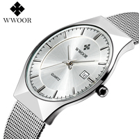WWOOR Mens Watches Top Brand Luxury Ultra Thin Wrist Watch Stainless Steel Mesh Band Quartz Wristwatch