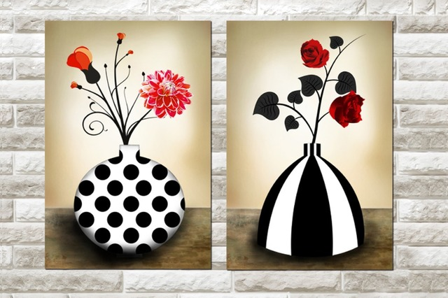 2 Panels Abstract Red Flowers Paintings Black And White Flower Art