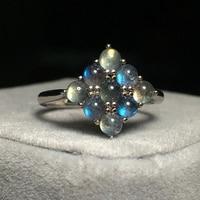 HOBBORN New Moonstone Beads Women Ring S925 Sterling Silver Open Geometry Anti allergy Rings Charm Finger Silver Jewelry Bijoux