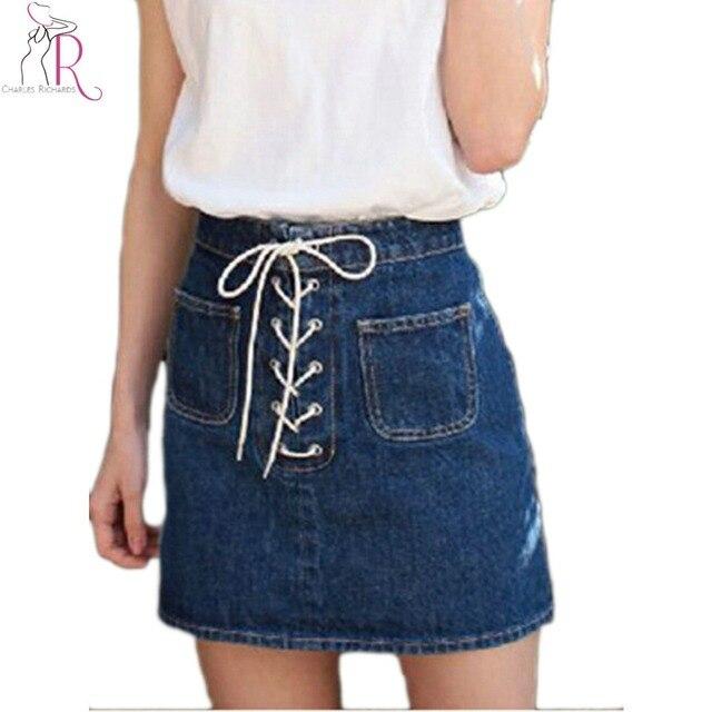 a4bd1fe76c Lace Up Front Denim Skirt Blue High Waist Casual Pockets Cute Mini A Line  Skirts 2017 Summer New Fashion Cotton Ladies Wear
