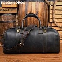 Модная Дорожная сумка из натуральной кожи, мужские повседневные сумки из воловьей кожи, деловые дорожные сумки, вместительные багажные сум