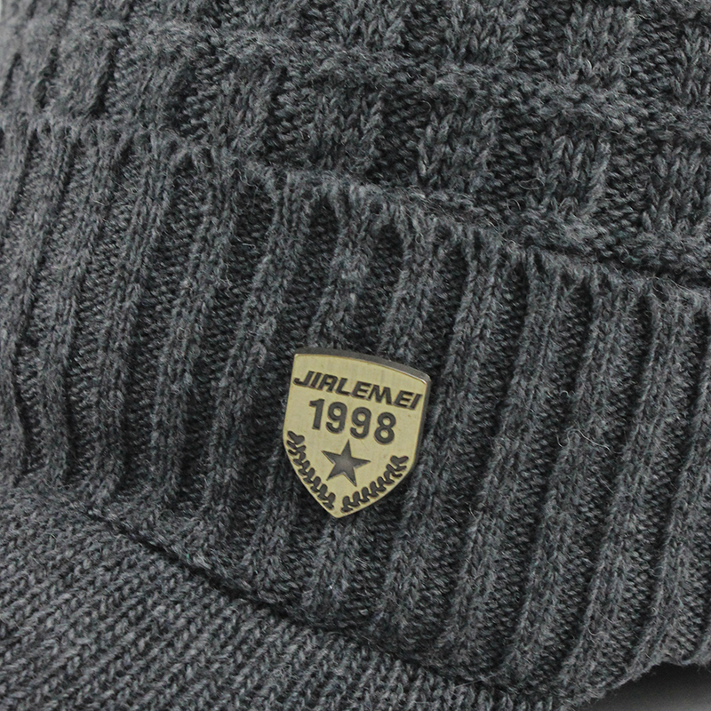 Skullies Beanies Men Scarf Knitted Hat Caps Male Bonnet Warm Wool Thick Winter