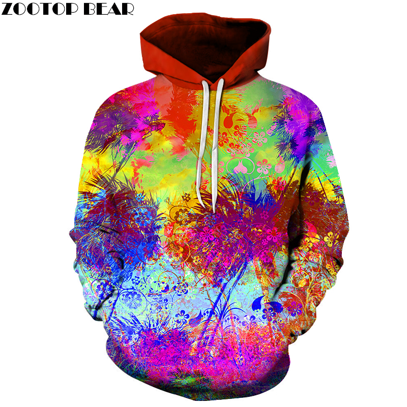 Colorful Flower Printed Sweatshirt Men Women Hoodies Fashion Hoodie Sweatshirts Long Sleeve Pullover Sweatshirt For Lovers