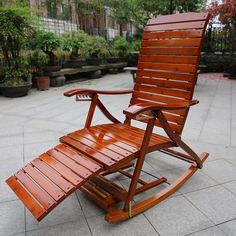 Adjustable Chaise Lounges Rocking Chair Patio Lounger Chair Old Man Bamboo  Folding Chairs Summer Nap Bed Load For Patio Office In Chaise Lounge From  ...