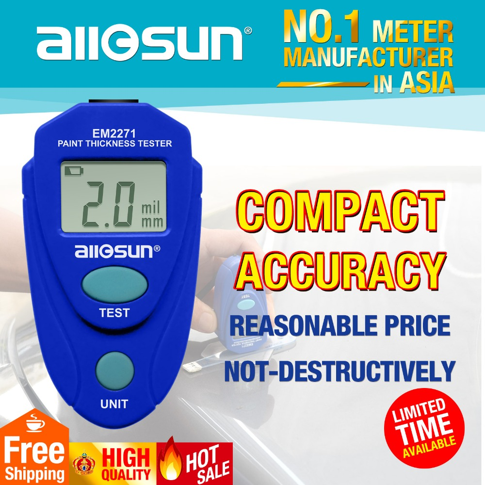 AllSun EM2271 Retail Package Digital Mini Car Painting Thickness Tester Paint Thickness Meter Automotive Coating Thickness Gauge retail package free shipping new digital film coating thickness gauge paint meter tester with battery for car paint thickness