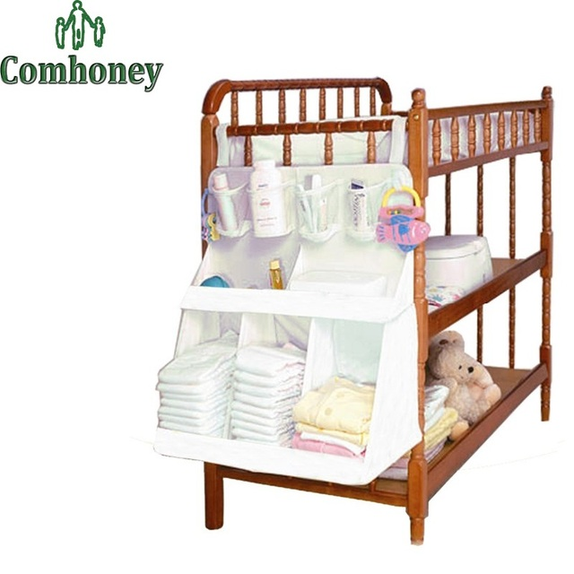 Baby Crib Storage Bag Baby Bed Diapers Organizer Hanging Laundry Bag Portable Storage Bedding Set Diaper Pocket for Cribs