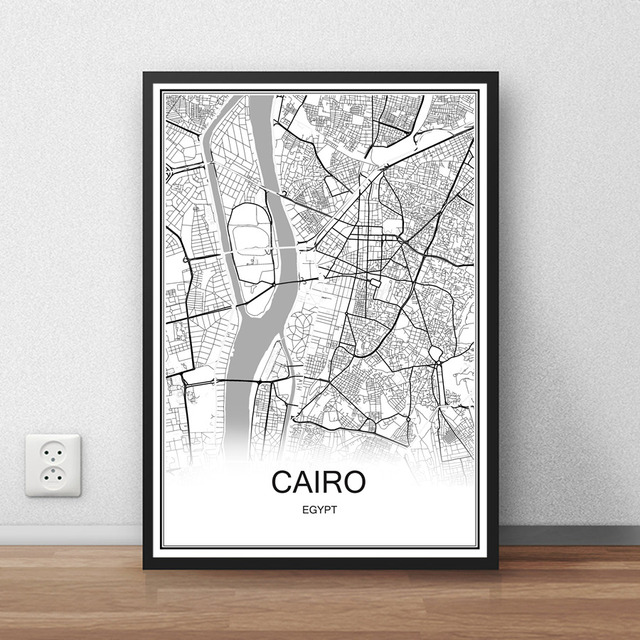 Cairo egypt city street map print poster abstract coated paper bar cafe pub living room home