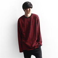 Vellsar Autumn Korean Men Women Fashion Loose Oversize Extra Long Sleeve Couple T Shirts Harajuku Black