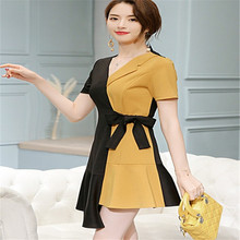 2019 spring and summer new large size stitching fashion casual dress multi-color trend for women vintage black yellow dres