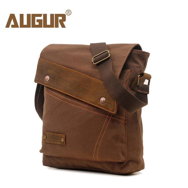 Augur Fashion Men Shoulder Bag Leather Canvas Travel Messenger Doent Crossbody High Quality Small