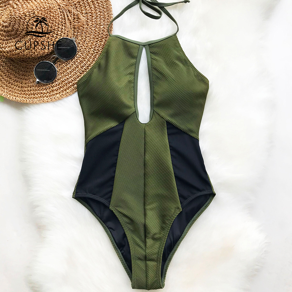 Cupshe Hear The Lullaby Mesh One-piece Swimsuit Women Army Green Cut Out Push Up Bodysuits 2018 Girl Beach Patchwork Swimwear