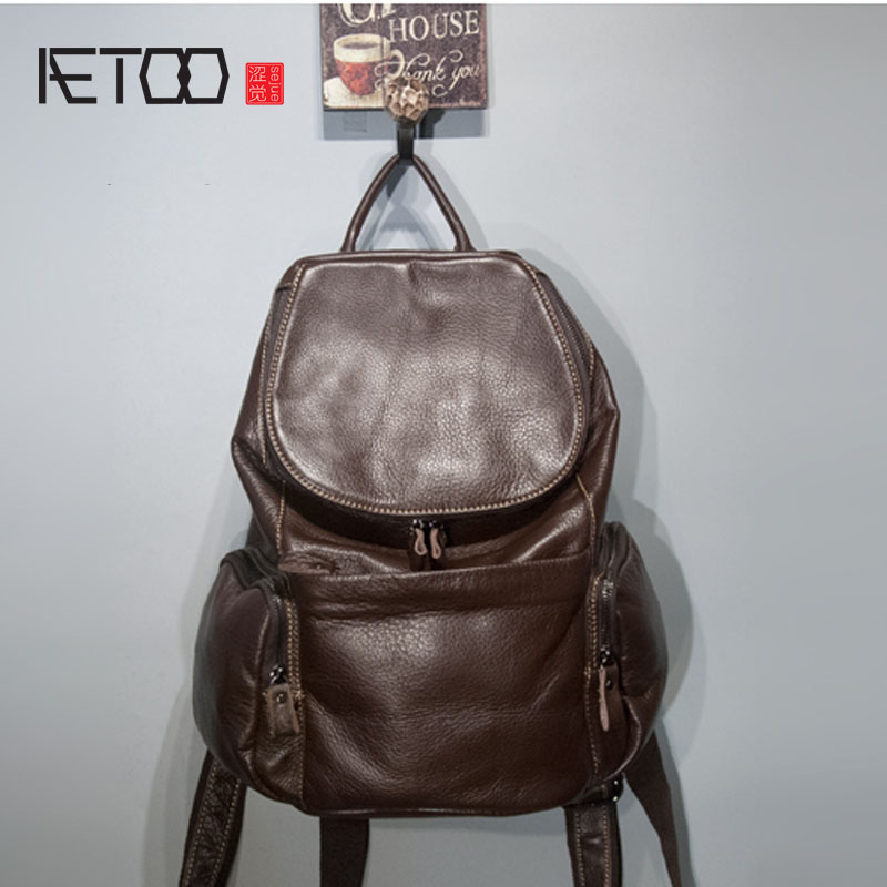AETOO  Import leather leather brown women backpack large capacity cowhide backpack travel bag рюкзак zipit zipper backpack pink brown zbpl 1