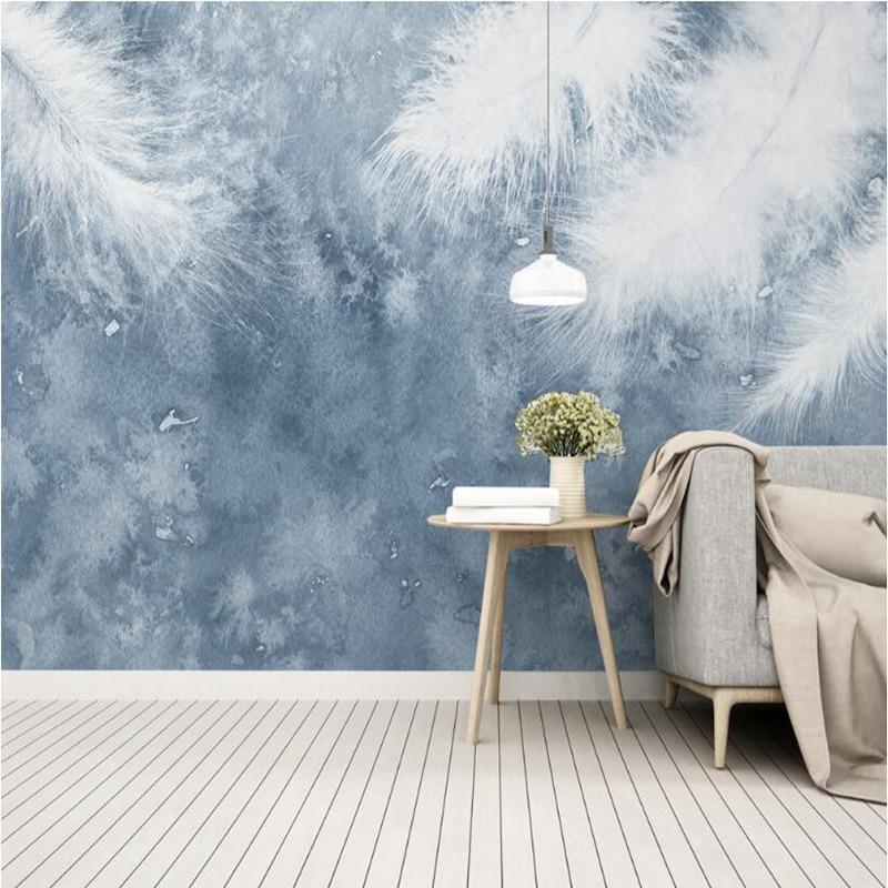 YOUMAN Desktop Wallpaper 3d Images Hd Custom Photo Wallpaper Blue Feather Mural Bedroom Wallpaper Ideas TV Room Kitchen Wall Art