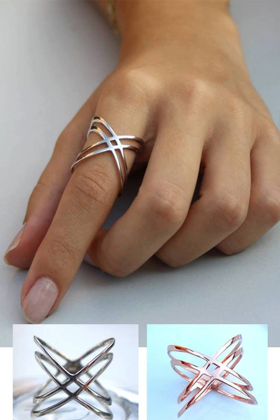 Genuine 925 Sterling silver size 6,7,8,9 high polished plain silver women long finger Double cross cirss X ring ...