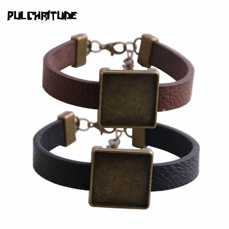 1 pièces bracelets en polyuréthane Base réglage manchette plateaux vierges brasero ajustement 20mm verre camée dôme carré Cabochon bracelet à bricoler soi-même fabrication de bijoux P6714