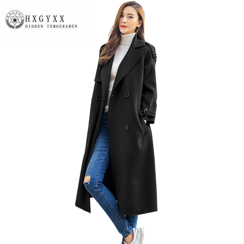 2018 Winter Women Woolen cloth Parka Fashion double-sided Wool lace-up New Coat High quality Female Long Wool Outerwear ZX0177