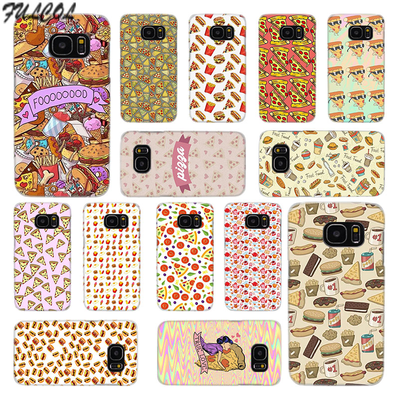 Fulcol Chips Pizza food Hamburgers Transparent fashion hard Case Cover for Samsung Galaxy S4 S5 S6 S7 S8 S9 Mini Edge Plus