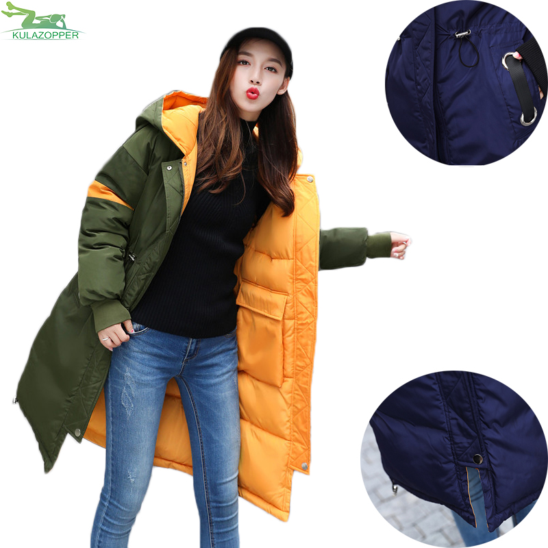 Winter Jacket Female Parka 2017 Down Cotton coat Padded Thick Warm Loose Hooded Both Sides Wear For Women Cotton Clothes QW652 hooded winter jacket women thick cotton padded parka down warm casaco feminino jaqueta feminina abrigos mujer invierno sy235