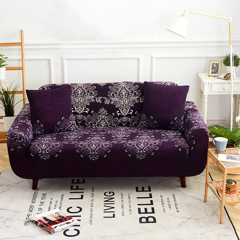 8e6c1bf930 TUTUBIRD-European Stretch Tight Sofa Cover purple mandala cartoon Couch  Cover Knitted Fabric Anti-