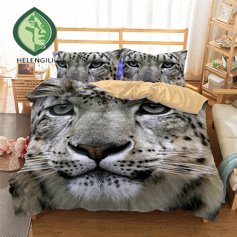 3D Bedding Set Snow Leopard Print Duvet Cover Set Twin Queen King Lifelike Bedclothes With Pillowcases Bed Set Home Textiles #2