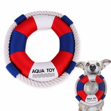 Dog Swimming Ring With Squeaker Soft Cotton Rope Chewing Biting Training Pet Cat Cute Toy