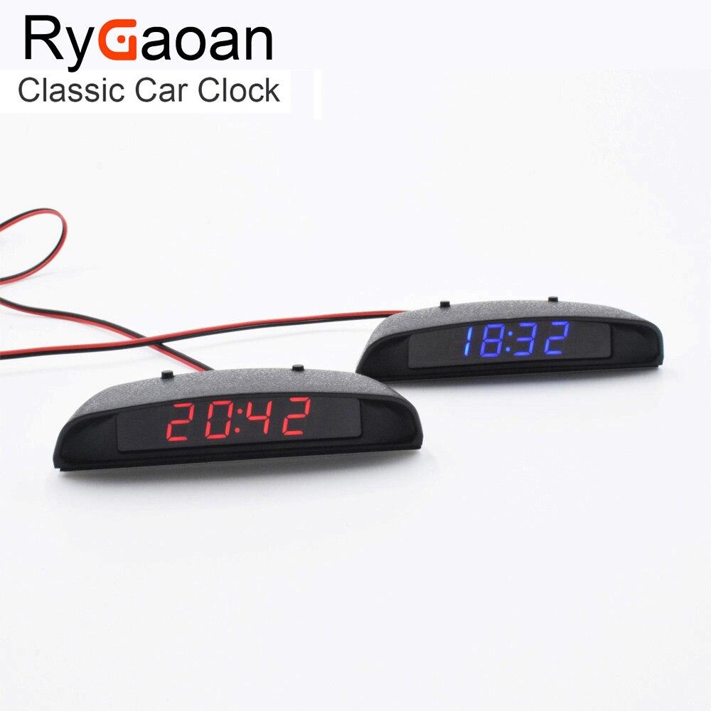RyGaoan Classic 12 V intérieur 3 en 1 thermomètre d'horloge de voiture et moniteur de tension (sept types de Mode d'affichage), affichage bleu et rouge