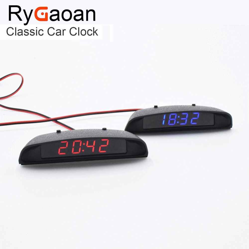 RyGaoan Classic 12V Interior 3 In 1 Car Clock Termometer og Spennings Monitor (Seven Types of Display Mode), Blå og Rød Display
