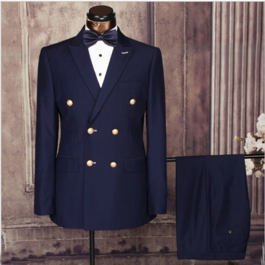 Auriparus flaviceps Navy Blue Prom Suits 2 Pieces Man Suits Double Breasted Groom Tuxedos Groomsmen Blazer Wedding Jacket pant