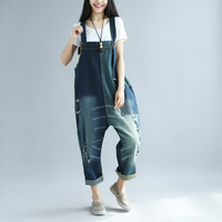 Original design big yards Bib Jeans Women patchwork Denim Jumpsuits 2018 Casual Drop Crotch Rompers Wide Leg Overalls YT4112